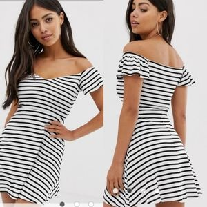 Asos Striped Bardot Skater Dress